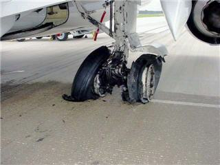 Airplane that landed with the Parking Brake Set